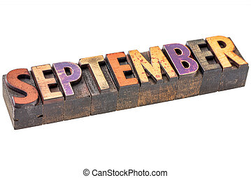 September month in wood type - September banner - isolated...