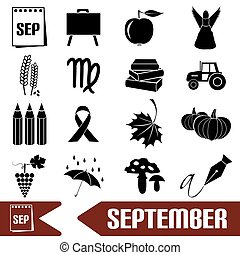 september month theme set of simple icons eps10