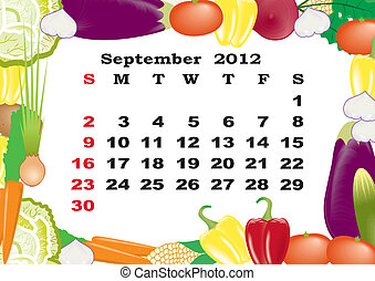 September - monthly calendar 2012 in colorful frame