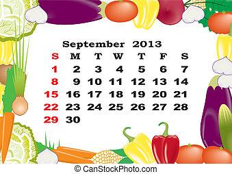September - monthly calendar 2013 in frame with vegetables