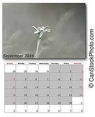 september nature calendar page layout