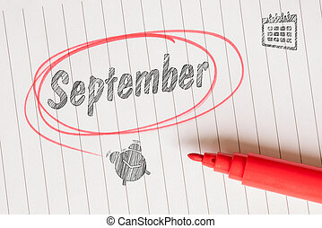 September note with a red brush and a circle