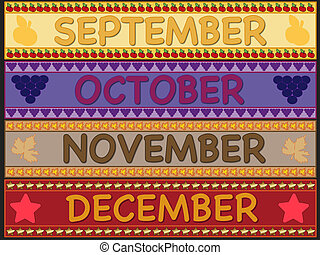 september october november december - illustration of...