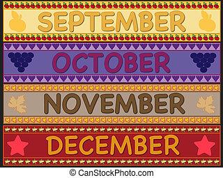 september october november december - illustration of...