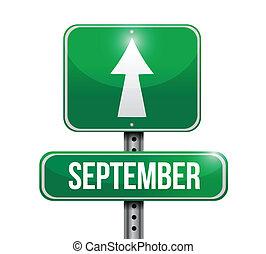 september, ontwerp, illustratie, meldingsbord