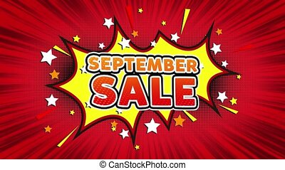 September Sale Text Pop Art Style Comic Expression. -...