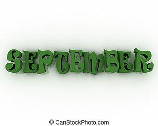 September sign with colour. 3d paper illustration.