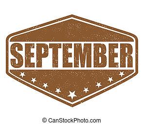 September stamp - September grunge rubber stamp on white...