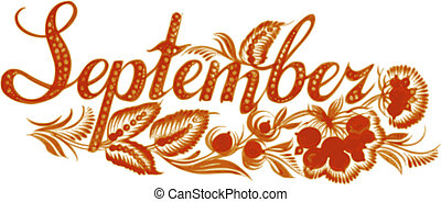 September name of the month, hand drawn, illustration in Ukrainian folk style