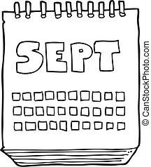 september, visande, månad, svart, vit, kalender, tecknad ...