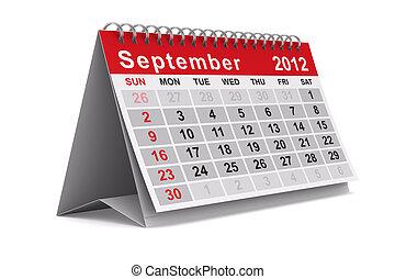 september., wizerunek, odizolowany, calendar., rok, 3d, 2012