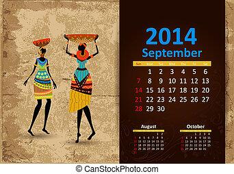 septembre, 2014, calendrier, ethnique
