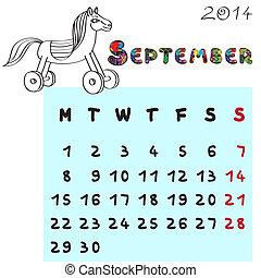 septembre, 2014, cheval, calendrier