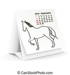 septembre, 2014, cheval, calendrier, bureau