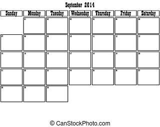 septembre, 2014, planificateur, grand, espace
