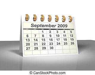 septembre, (3d)., calendrier, 2009, bureau