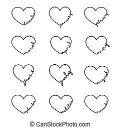 septembre, août, mot, année, avril, juillet, december., mois, novembre, -, calligraphie, dessiné, janvier, octobre, heart., juin, symbole, mars, lettrage, février, illustration., main, mai