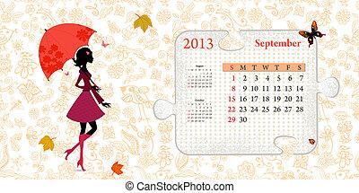 septembre, calendrier, 2013