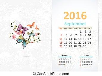 septembre, calendrier, 2016