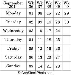 septembre, faible, nombre, chaque, 2014, calendrier