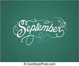 septembre, lettrage, main