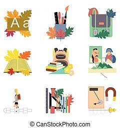 septembre, plat, premier, montage, icônes