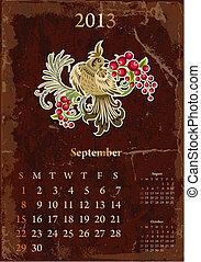 septembre, vendange, calendrier, retro, 2013