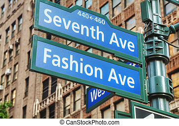 septième, avenue, signe