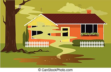 Puddle of sewage in a backyard of a house coming from a failed septic tank, EPS 8 vector illustration, no transparencies