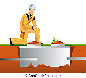 septic tank - work cleansing of the septic tank
