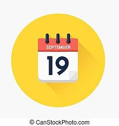 septiembre, 19, vector, 2018, fecha, calendario, día