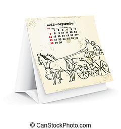 septiembre, 2014, caballo, calendario, escritorio