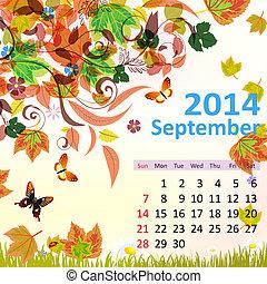 septiembre, calendario, 2014