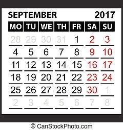 septiembre, calendario, hoja, 2017