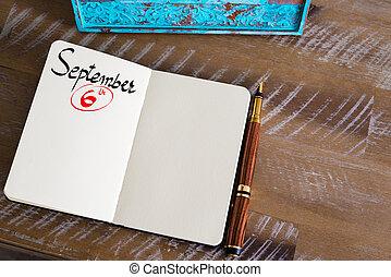 septiembre, cuaderno, 6, calendario, día, manuscrito