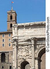 Septimius Severus Arch at Roman Forum in city of Rome