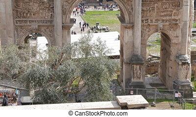 Septimius Severus Arch, Roman Forum. Rome, Italy. UltraHD...
