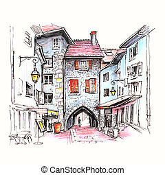 Sepulchre Gate in Old Town of Annecy, France - Color hand...