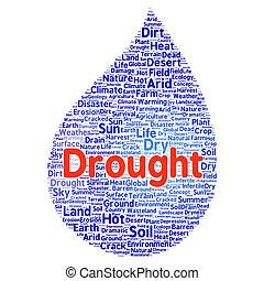 sequía, palabra, nube, concepto