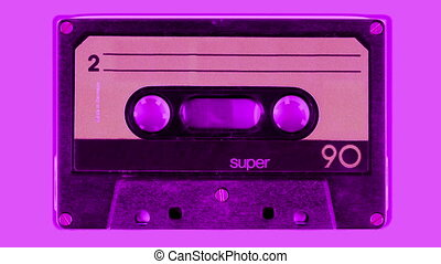 sequence made from close up  shots of cassette music tapes
