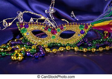 sequin mask with party beads - Mardi Gras party beads with...