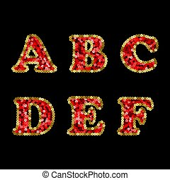 Sequin Red and Gold Vector Alphabet. Part 1