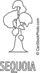 Sequoia icon, outline style.