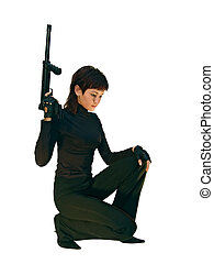 sequrity theme - Bodyguard girl. Searching. Isolated on ...