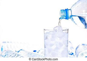 ser, agua, llenado, hielo, vidrio