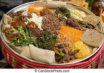 ser, alimento, ethiopian, tradicional, injera, wot