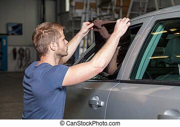 ser aplicable, coche, hojuela, teñir, ventana, taller, en