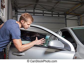 ser aplicable, coche, teñir, hojuela, ventana, en