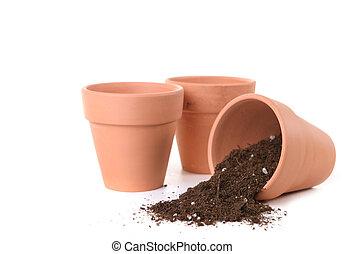 ser, argila, potes, esperando, plantado, sementes
