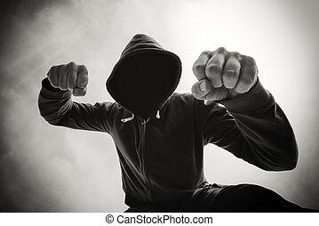 ser, atacado, violento, calle, perforado, agresivo, hombre